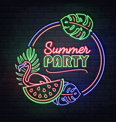 neon sign summer party with tropic leaves vector image