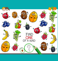 One a kind game with fruit characters vector