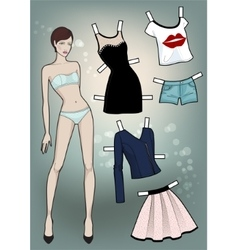Paper Doll with different dresses vector image