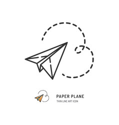 Paper plane thin line icon flat vector