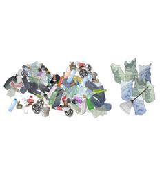 Pile of garbage garbage bags and rake vector