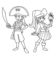 Pirate kids line art vector