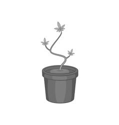 Pot marijuana icon black monochrome style vector