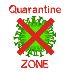 Quarantine zone acid green virus emblem vector