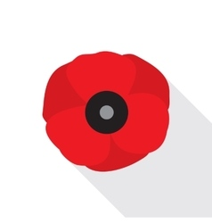 Red Poppy Flower Flat Icon vector image