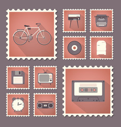 retro style set flat stamps with shadow vector image