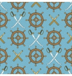 Seamless Pattern Retro Ship Steering Wheels vector image