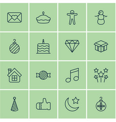 Set of 16 holiday icons includes brilliant tree vector