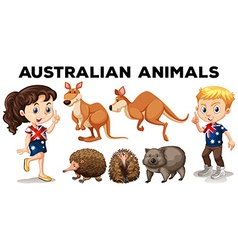 Set of Australian wild animals vector