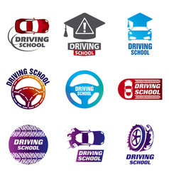 Set of logos driving school car vector