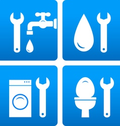 set with wrench water drop washing machine vector image
