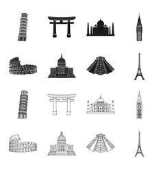 Sights of different countries blackoutline icons vector