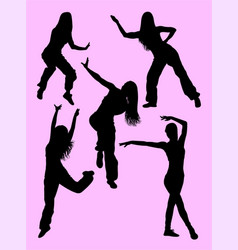 silhouette of happy woman dancing zumba vector image