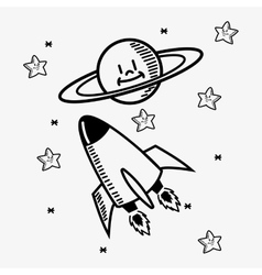 Space stars doodle drawing image vector
