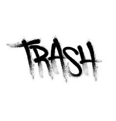 Sprayed trash font graffiti with overspray vector