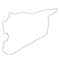 syria - solid black outline border map of country vector image