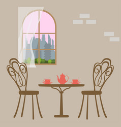 Table in restaurant served for breakfast vector