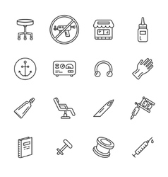 Tattoo and Piercing Icons vector image vector image
