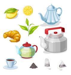 Tea set with green leaf hot beverage cup teapot vector