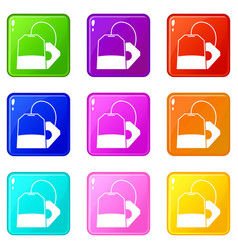 Teabag icons 9 set vector