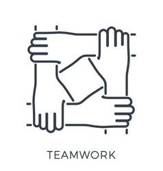 teamwork or hands friends vector image