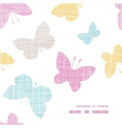 Textile textured colorful butterflies frame corner vector image