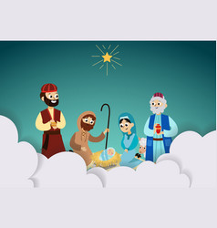Three magic kings orient bringing presents to vector