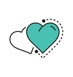 Twins heart icon dots style green vector