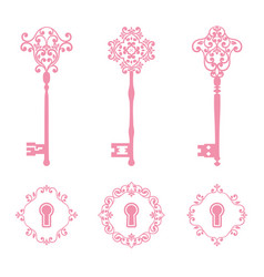 Vintage keys and keyholes set in pink color vector