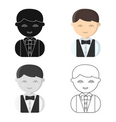 Waiter cartoon icon for web and vector