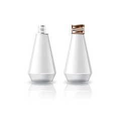 White cosmetic cone shape bottle with screw cap vector