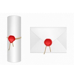 white envelope and scroll with red wax template vector image