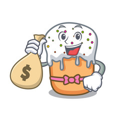 With money easter cake character cartoon vector