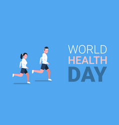 World health day poster with couple of joggers vector