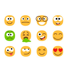 yellow and green emoticon faces vector image