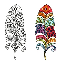 Zentangle stylized tribal color and monochrome vector image