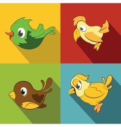Color birds on background with long shadow vector image vector image