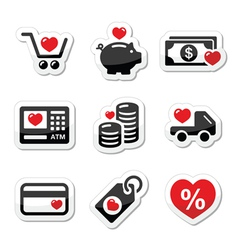 I love shopping I love money icons vector image vector image