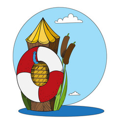 log and a life buoy in the water cartoon drawing vector image vector image