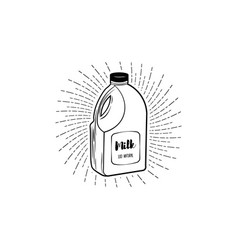 milk bottle icon on white background vector image vector image