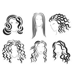 Women face hair style silhouette logo vector image