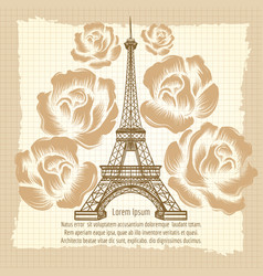 eiffel tower and roses vintage poster vector image vector image