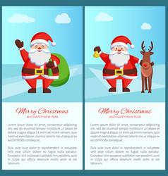 merry christmas santa and bag vector image