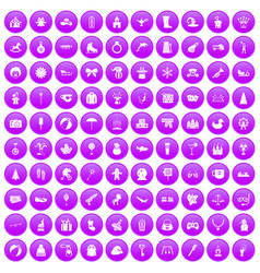 100 children icons set purple vector image vector image