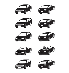 Different cars in perspective vector image vector image