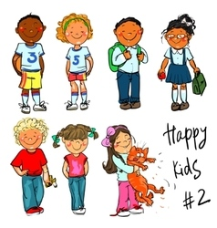 Happy Kids - part 2 Hand drawn clip-art vector image vector image