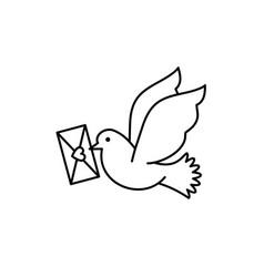 post pigeon icon dove sign line art design vector image