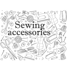 Sewing accessories coloring book vector image vector image