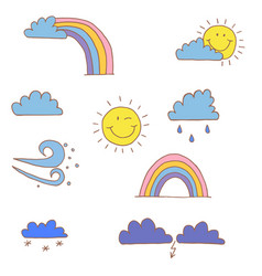 weather elements a set of childrens drawings vector image