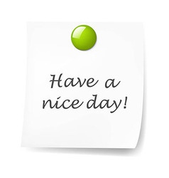 Blank Sticky Note With Green Push Pin vector image